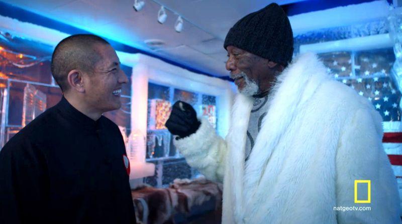 Tulku Lobsang en National Geographic con Morgan Freeman